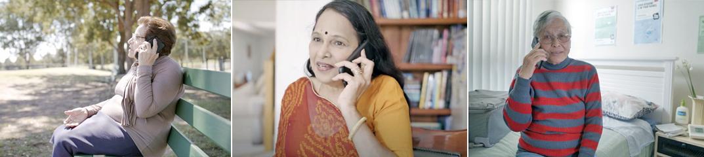 Three older women on the phone